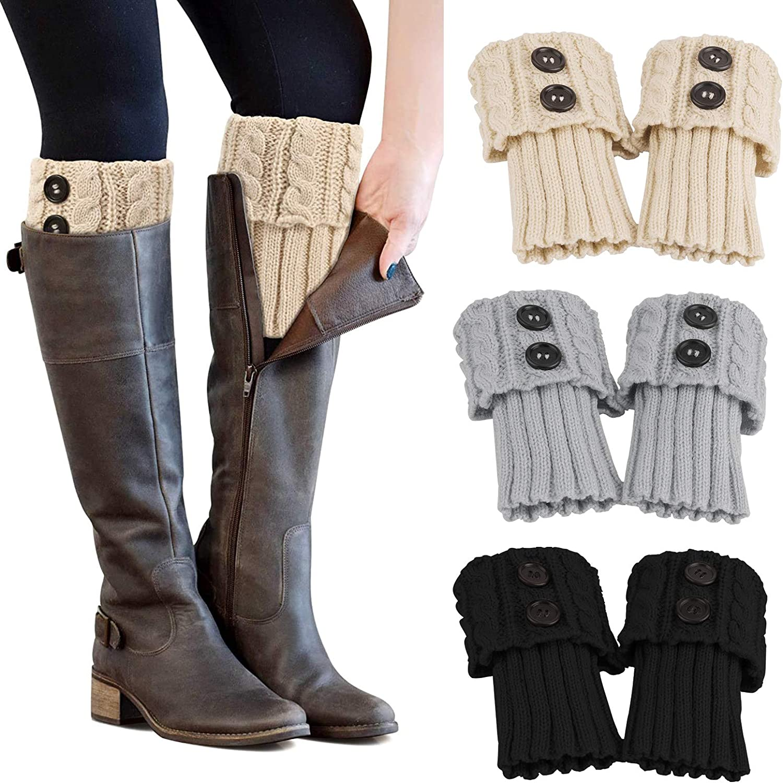 PHOGARY 3 Pairs Winter Warm Boot Cuffs for Women, Crochet Knitted Boot Socks for Girls Short Leg Warmers Boot Topper Socks Leg Cuffs Boot Warmers Gift (Black+Beige+Grey)