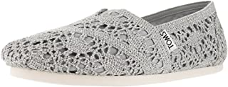 TOMS Womens Crochet Classics Silver Crochet Metallic 9 ...
