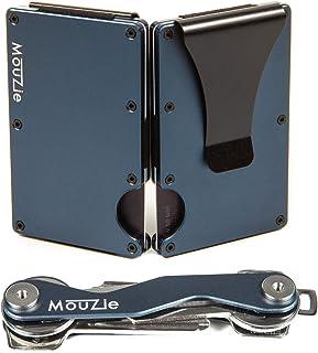 Night Sky Blue Money Clip + Cash Strap Band Slim Aluminum RFID Blocking Minimalist Premium Front Pocket Credit Card Holder edc Wallet + Compact Key Organizer Keychain Set Gift For Men Women