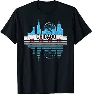Chicago Skyline Shirt Silhouette IL City Flag Gift T-Shirt