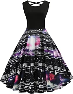 BOOMJIU Women Vintage Dress, Ladies Music Note Print Retro Party Cocktail Swing Dress