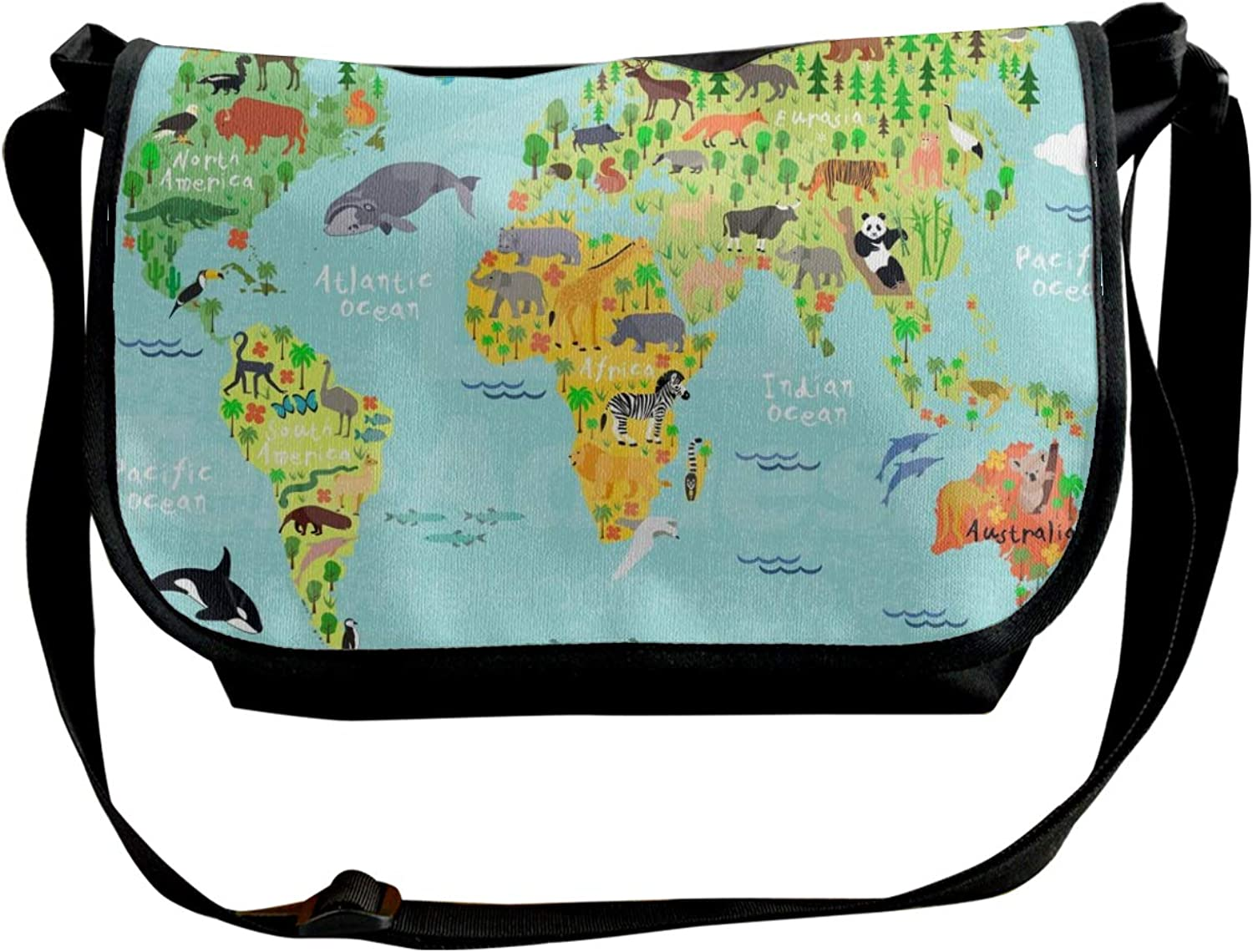 Single Shoulder Pack Kid Animal World Map Sling Bag with Headphone Hole for Student