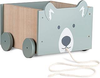 Navaris Bac à Jouet - Boîte Rangement 25,5 x 24 x 20 cm - Jouets Peluches Accessoires pour Enfant Bébé - 4 roulettes - Des...