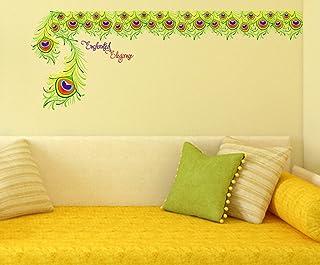 Decals Design 'Enchanted Elegance with Peacock Feather' Wall Sticker (PVC Vinyl, 60 cm x 90 cm x 1 cm), Multicolour
