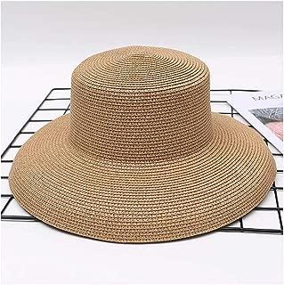 CHENDX High Quality Hat, New Fashion Women Sun Hat Casual Jazz Beach Holiday Bucket Beach Hat Big Sun Hat Summer Flat Straw Hat (Color : Khaki, Size : 56-58CM)