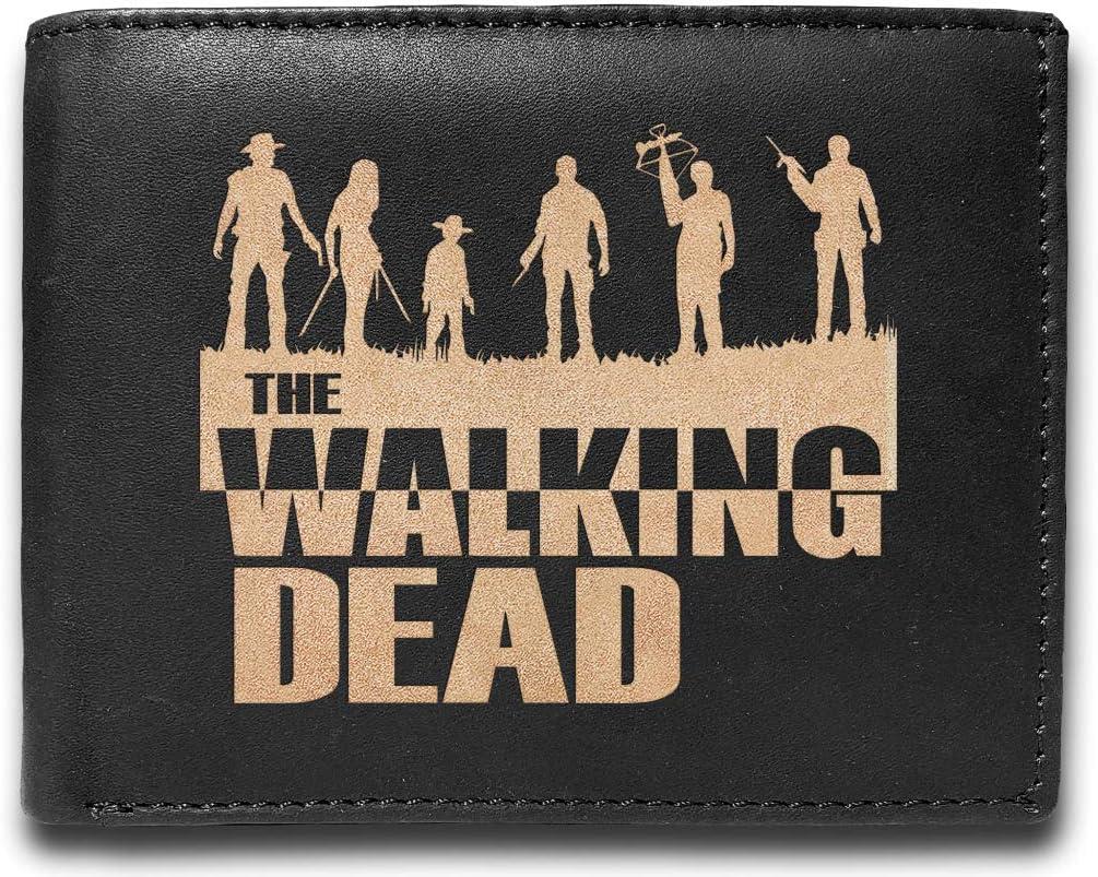 The Walking Dead Leather Laser Engraved Minimalist Slim Black RFID Blocking Multi Pockets Credit Card Holder Oraganizer Mens Wallets UD7188