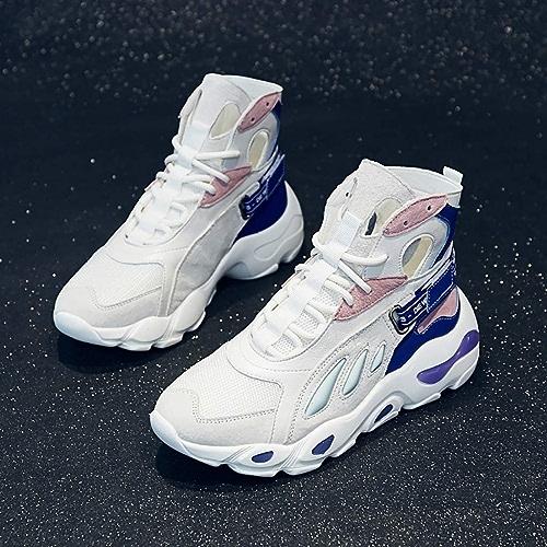 ZYFXZ Baskets Occasionnels Baskets Montantes Femme Tendance Harajuku, Chaussures de Danse de Rue, Chaussures de Ville (Jaune, Blanc BiCouleure en Option) (Couleur   Blanc, Taille   35)