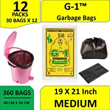 G-1™ Black Medium Garbage Bags :19 inch X 21 inch | 12 Packs of 30 Pcs - 360 Pcs | Disposable Kitchen Trash Waste Dustbin Covers & Bags