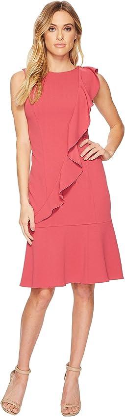 Adrianna Papell Knit Crepe Corkscrew Dress w/ Dropwaist