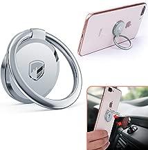 Phone Ring Holder Finger Kickstand - FITFORT 360° Rotation Metal Ring Grip for Magnetic Car Mount Compatible with All Smartphone-Sliver