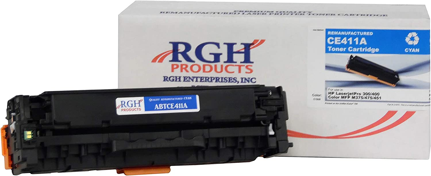 RGH Products Remanufactured Toner Cartridge ABTCE411A Tray Toner Cartridge Replacement for HP CE411A Printer Cyan