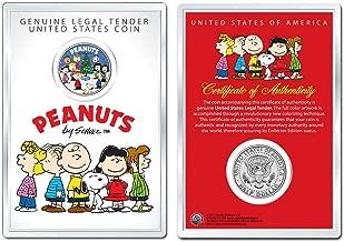 MKMT Peanuts Gang Christmas Tree Caroling Charlie Brown & Snoopy JFK Kennedy Half Dollar! COA & 4 X 6 Display CASE!
