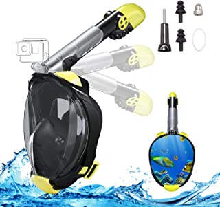 Full Face Snorkel Mask, 2019 Upgraded Snorkeling Mask with Newest Breathing and Dry Top System, Foldable 180 Degree View Dive Mask with Camera Mount and Earplug, Anti-Leak Anti-Fog for Adult Kids