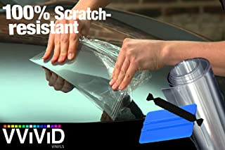 VViViD Clear Bra Paint Protection Bulk Vinyl Wrap Film Including 3M Squeegee and Black Felt Applicator (6 Inch x 120 Inch (10ft))