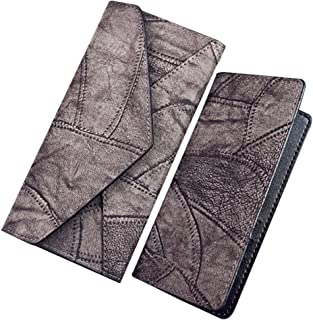 Wiwsi Stitching Lady Leather Handbag Envelope Clutch Purse Wallet Card holders