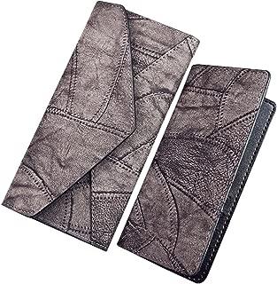 Wiwsi Stitching Lady Leather Handbag Envelope Clutch Purse Wallet Card holders