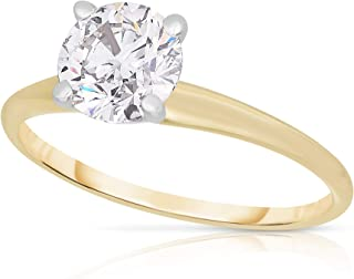 Femme Luxe 14K Yellow Gold and 1.00 Carat Lab-Grown Diamond Solitaire Ring for Women, Diamond Color: GH, Clarity: SI1-SI2,...