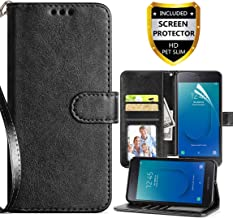 Cmore Compatible for Samsung Galaxy J2 Case (2019),Galaxy J2 Core Wallet Case/J2 Pure Case/J2 Dash Case with Card Holder/Strap,PU Leather Flip Magnetic Cover with Card Slots and Screen Protector-Black