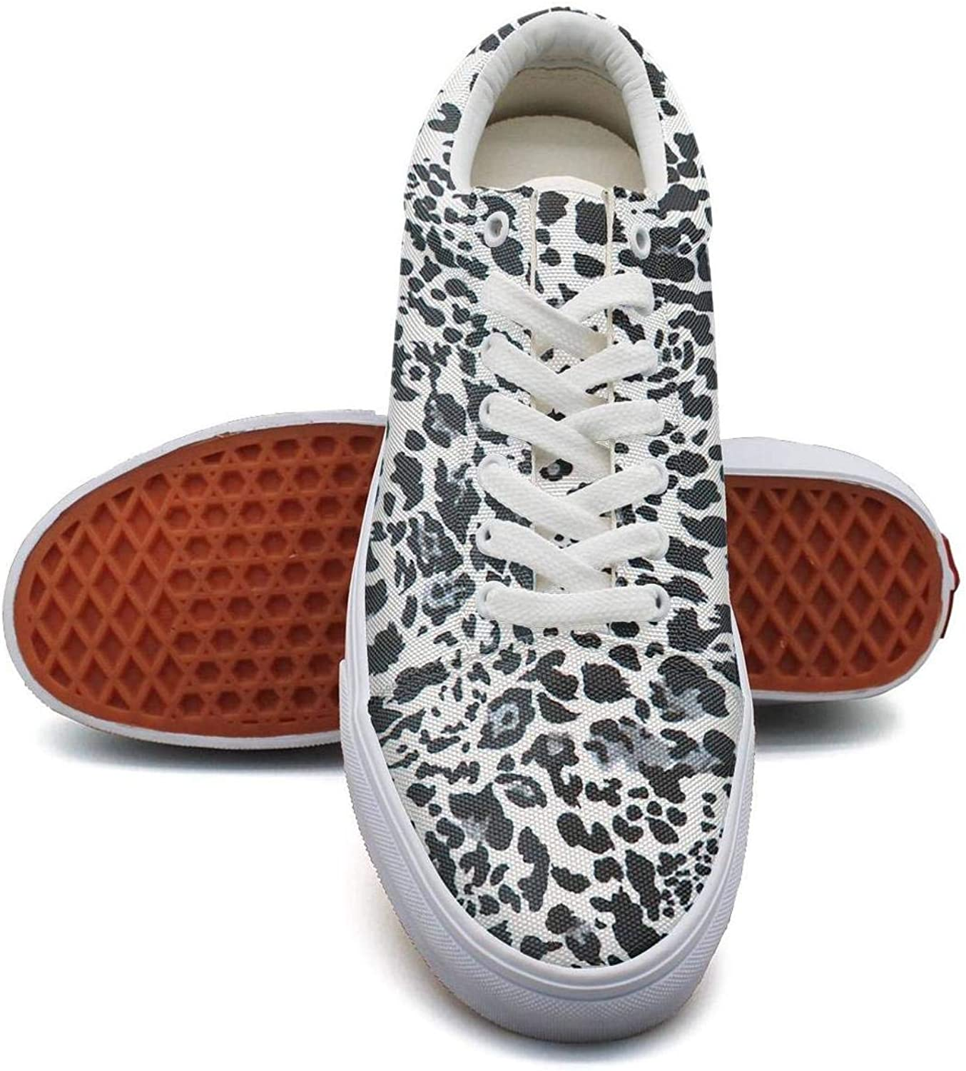 QILI Women's Leopard Cheetah Print Camouflage Green Stylish Rounded Toe Running Canvas shoes