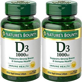 Nature's Bounty 自然之寶 維生素 D3-1000 IU,700 粒軟膠囊(2 瓶,350 粒/瓶)
