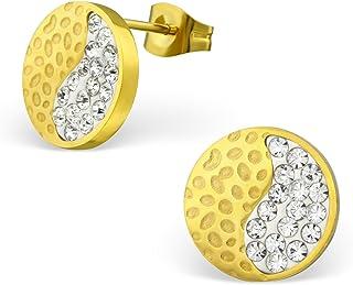 Carrelage Boucles doreilles bijoux de boucles doreilles Ying Yang Ying Yang Noir et blanc Boucles doreilles