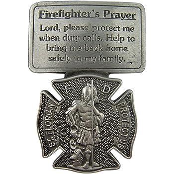 All Patron Saints St Florian Maroon Firefighter Prayer Auto Visor Clip