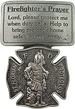 Fine Pewter Firefighter's Prayer Catholic Patron Saint Florian Visor Clip, 2 1/2 Inch