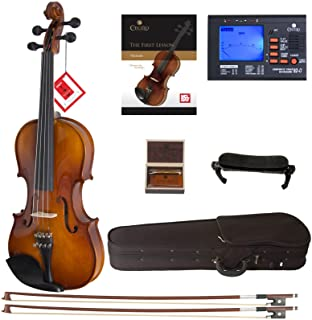 Mendini By Cecilio Violin For Kids & Adults - Beginners Violins Kit For Student w/Case, Rosin, 2 Bows, Tuner, Lesson Book...