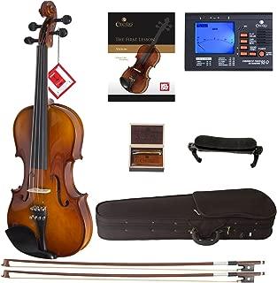 Cecilio CVN-300 Solidwood Ebony Fitted Violin with D'Addario Prelude Strings, Size 1/4