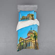 Ambesonne Sicily Duvet Cover Set, Teatro Massimo in Palermo Architecture with Palm Trees Art History Photo, 3 Piece Bedding Set with Sham and Fitted Sheet, Twin XL Size, Multicolor
