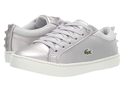 Lacoste Kids Straightset 319 1 (Little Kid) (Silver/Off-White) Kid