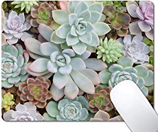 Cute Succulents Mouse Pad, Natural Plants Mousepad for Design, Anti-Slip Rubber Base Wireless Mouse Pads for Laptop