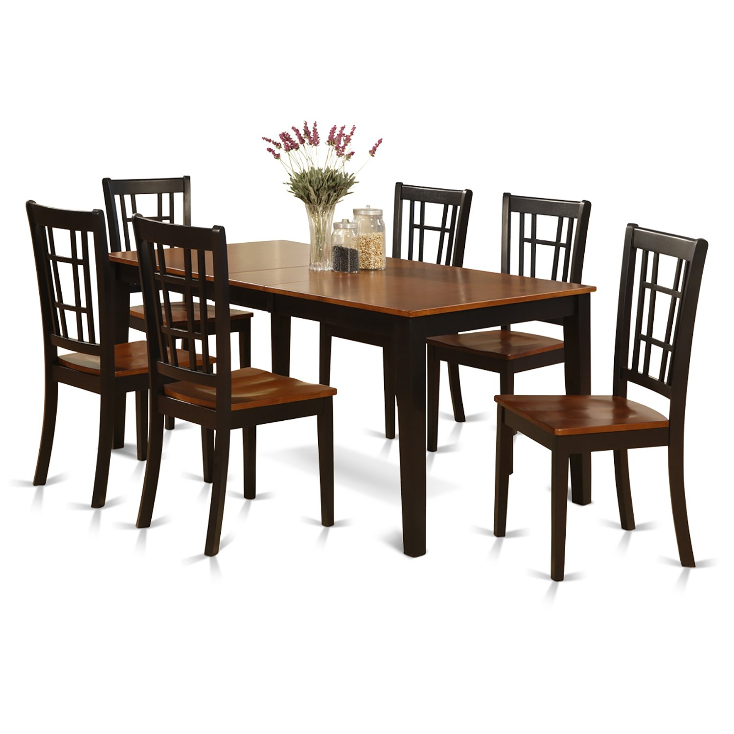 East West Furniture NICO7-BLK-W 7-Piece Formal Dining Table Set  sc 1 st  Amazon.com & Cherry Dining Tables: Amazon.com