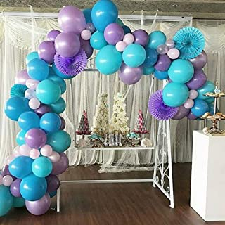 100Pcs Balloon Garland & Arch Kit for Frozen Party-100Pcs Purple Teal Blue White Latex Balloons, 16 Feets Arch Balloon Str...