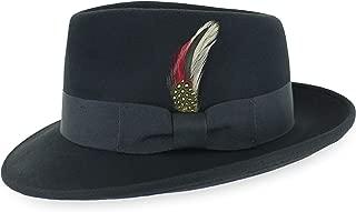 Belfry Gangster 100% Wool Stain Resistant Crushable Dress Fedora in Black Grey Navy Brown Pecan