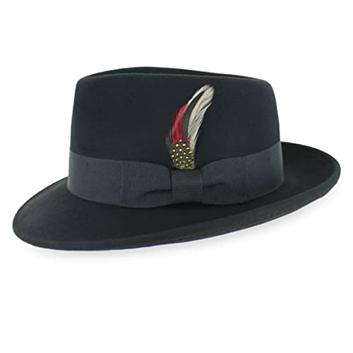 Mens Black Fedora Hat 1920s Fancy Dress Accessory Gangster Hat