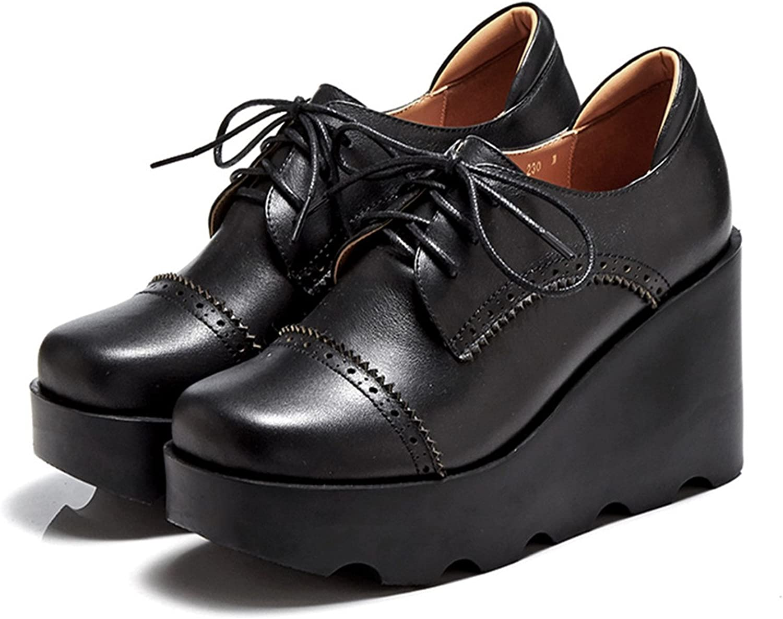 Reedbler Platform shoes Genuine Leather Lace-Up Women Flat shoes Black Brown BB14