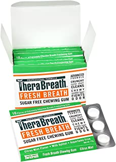 TheraBreath Fresh Breath Chewing Gum, Citrus Mint Flavor, 60 Pieces