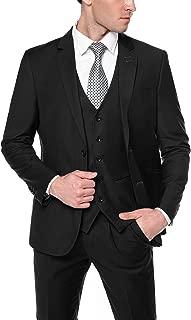 COOFANDY Mens Slim Fit 3 Piece Suit Two Button Blazer Jacket Dress Vest Pleat Front Pants Set