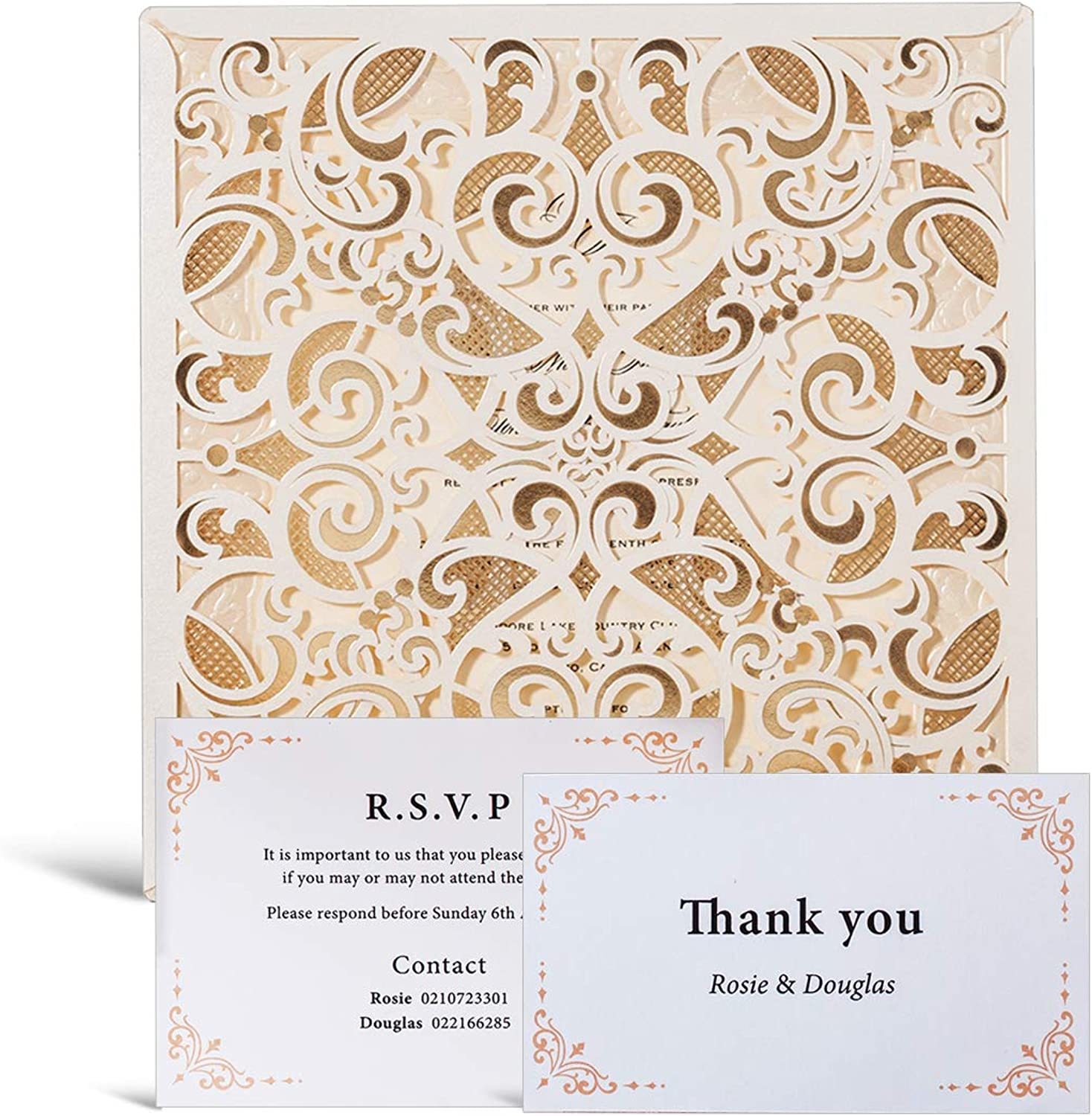 WISHMADE 50pcs Ivory Laser Cut Flora Lace Invitation Cards with Envelope Printable Blank Inserts Foil Wedding Invitations Bridal Shower Engagement Birthday with Matched RSVP Thank You Card