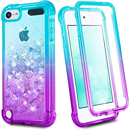 iPod Touch 7th 6th 5th Generation Case, Ruky iPod Touch 5 6 7 Full Body Glitter Case with Built in Screen Protector Shockproof Protective Girls Bling Liquid Floating Case (Teal Purple)