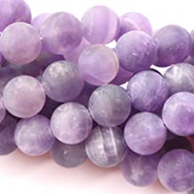 Tacool Natural Color Unpolished Matte Amethyst Round Gemstone Jewelry Making Loose Beads (6mm,2mm Hole)