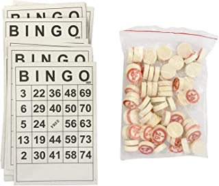 DENPETEC Bingo Board Game, Classic Bingo Cards, Vintage Wooden Bingo Game, with 40 Bingo Number Cards and 75 Chess, for Family, Friends and Large Parties Group Games