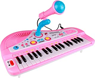 ZJTL Piano Toy Keyboard for Kids Gift Music Instruments with Microphone 37 Keys MQ-3736 PINK