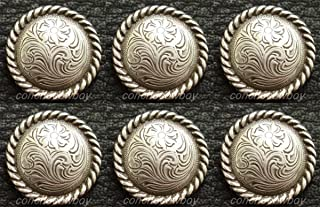 Leathercrafts/Accessories/Set of 6 Western Horse TACK Saddle Antique Rope Edge Conchos 5/8'' Screw Back