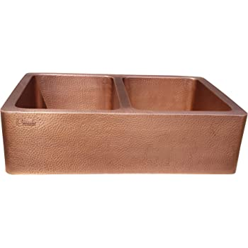 Coppersmith Creations 33 x 22 x 9 inch Double Bowl Kitchen Sink Hammered Front Apron Copper Kitchen Sink