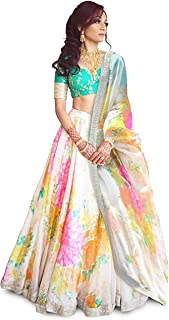 Classyfashion Women's Taffeta Silk Pink Embroidered Lehenga Choli (White,FreeSize)