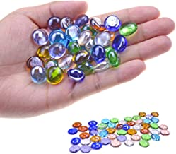 KINGOU Replacement Mancala Stones Mixed Colored Flat Glass Pebbles/Beads/Gems for Games (12-15mm)