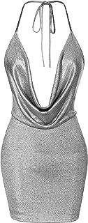 Womens Sexy Bodycon Deep V Neck Backless Halter Mini Party Club Dress
