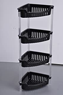 ALL FOR YOU 4-Tier Heavy Duty Plastic Coner Rack/Organizer/Shelves with Clear Tubes-Triangle/Coner Shape (Black)